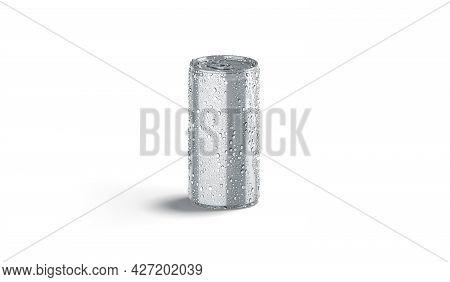 Blank Silver Aluminum Narrow 280 Ml Soda Can With Drops Mockup, 3d Rendering. Empty Metallic Pot Wit