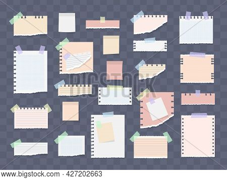 Paper Notes On Stickers, Notepads, Memo Messages.