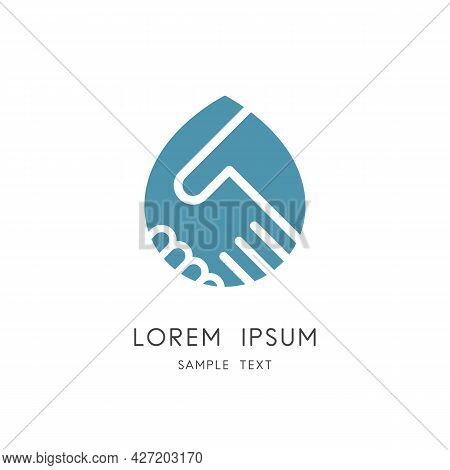 Handshake And Drop Of Water Logo - Shake Hands And Oil Symbol. Petroleum Industry, Ecology And Envir