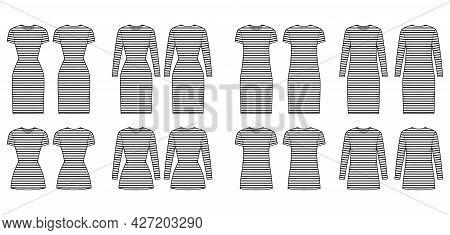 Set Of Dresses Sailor Technical Fashion Illustration With Stripes, Long Elbow Short Sleeve, Knee Min