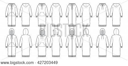 Set Of Dresses Zip-up Hoody Technical Fashion Illustration With Long Sleeves, Kangaroo Pouch, Rib Cu