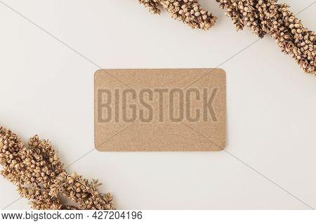 Kraft Paper Business Card Mockup Template, Flat Lay. Minimalist Style.