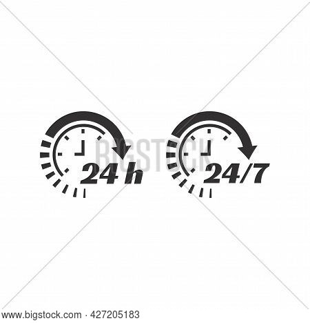 24 7 Clock Circle Arrow For Nonstop Service Icon. Non Stop, Twenty Four Seven Hour Open Support Vect