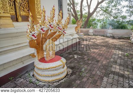 Asia Naga Statue On Phu Chang Noi At Chiang Khan Loei Thailad.chiang Khan Is An Old Town And A Very