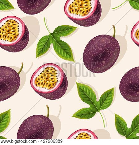 Vector Pattern With Whole Passion Fruit And Slice