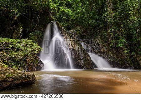 Leva Or Rak Jung Na Mon Waterfall At Ban Na Mon In Wiang Haeng District, Chiang Mai, Thailand. Water