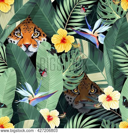 Seamless Pattern With Tropical Flowers And Jaguar
