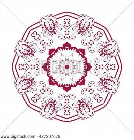 Oriental Mandala Design Decorative Element. Symmetric Red Round Ornament. Abstract Doodle
