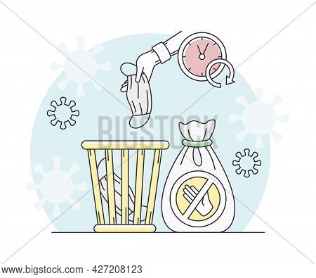 Pandemic With Disposable Mask Throwing In Dustbin As Safety Measure Line Vector Illustration