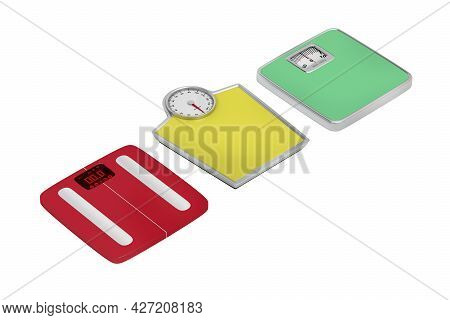 Three Different Weighing Scales On White Background, 3d Illustration