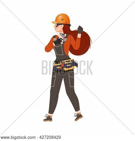 Dissatisfied Woman Worker In Overall And Hard Hat Protesting Defending Her Rights Vector Illustratio