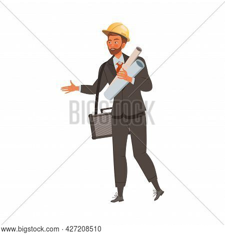 Man Builder Or Engineer In Suit And Hard Hat Holding Rolled Blueprint Paper Vector Illustration