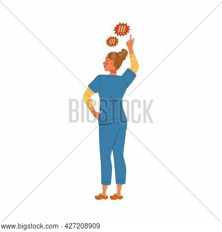 Dissatisfied Woman Medical Worker In Uniform Protesting Defending Her Rights Vector Illustration