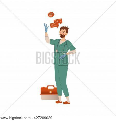 Dissatisfied Man Medical Worker In Uniform Protesting Defending His Rights Vector Illustration