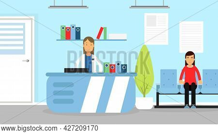 Hospital Staff With Woman On Reception And Patient Waiting In The Hall Vector Illustration