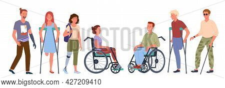 Disabled Handicap People Set, Smiling Man Woman Handicapped Patients Standing In Row