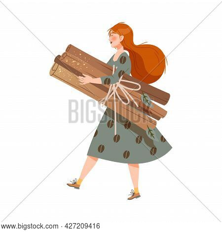 Redhead Woman Coffee Lover Carrying Pile Of Dry Cinnamon Stick As Coffee Vector Illustration