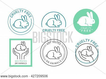 Organic Cosmetics Icons, Logos Thin Line Set, Symbols Of Animal Cruelty Free Collection