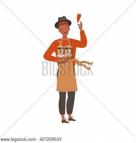 Man Barista Coffee Lover In Apron Holding Hot Aromatic Beverage In Paper Cup Vector Illustration