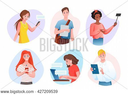 People And Gadgets Isolated Set, Cartoon Happy Young Gadgeteer Characters Using Mobile Gadgetry