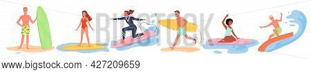 Summer Surfing Beach Sport Activity Set, Young Surfers Surf On Ocean Or Sea Waves