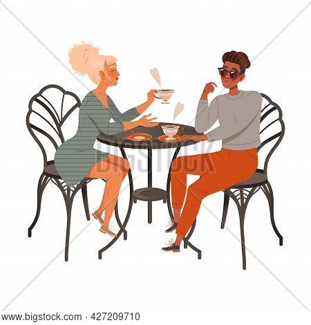 Man And Woman Coffee Lover Sitting At Cafe Table Drinking Hot Aromatic Beverage Vector Illustration