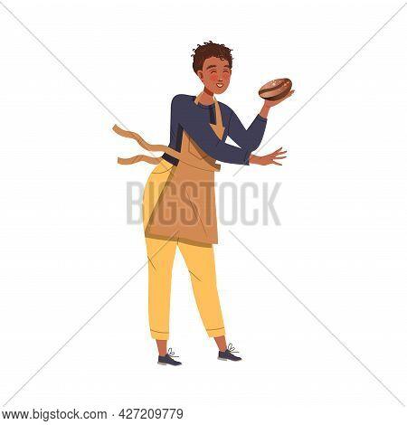 Man Barista Wearing Apron Preparing Coffee Drink Holding Roasted Coffee Bean Vector Illustration