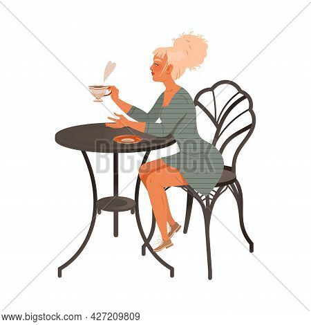 Blond Woman Coffee Lover Sitting At Table Drinking Hot Aromatic Beverage Vector Illustration