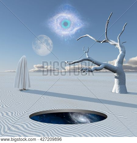 Figure covered by white cloth in desert of silence. Round hole shows the universe. 3D rendering