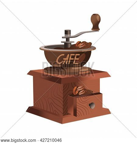 Manual Coffee Grinder With Wooden Case And Roasted Coffee Beans Vector Illustration