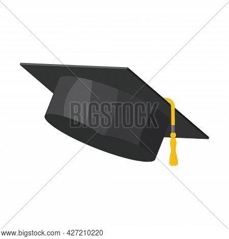 Graduation University Black Cap. Graduation College Hat Or Mortar Board With Tassel. Academic, Unive