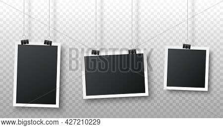 Realistic Blank Photo Frame Hanging On A Clip Isolated On Transparent Background. Vertical, Horizont