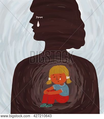 Hand-drawn Illustration, A Metaphor For The Psychological Problems Of The Inner Child. Silhouette Of