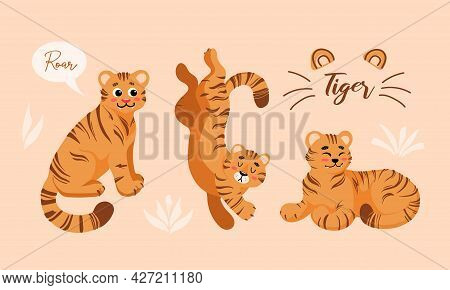 Set Of Vector Childish Colored Cartoon Illustrations Of Cute Tiger In Different Positions Isolated I