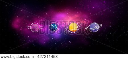 Vector Handdrawn Doodles On Colorful Space Watercolor Background