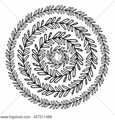 Vector Set Of Wreaths Made Of Twigs With Leaves. Hand-drawn Collection Of Round Doodle Twig Template