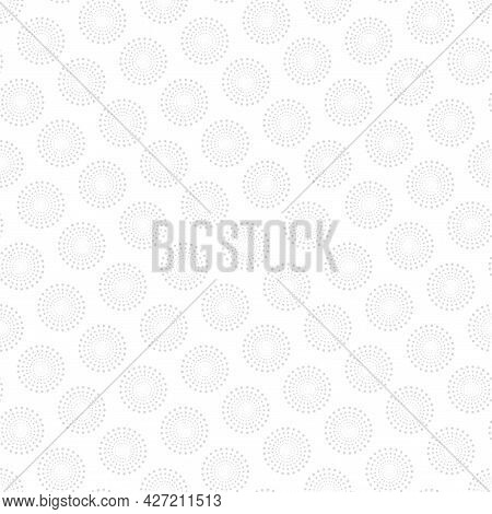 Vector Seamless Pattern With Dotted Shapes. White And Grey Decorative Texture. Abstract Delicate Bac