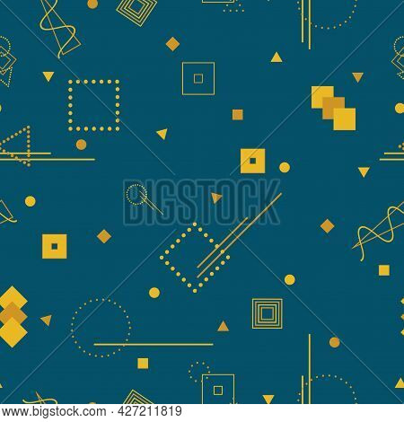 Vector Vintage Seamless Pattern With Geometric Shapes. Retro Fashion Style 80-90s