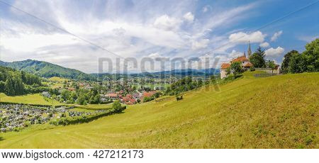 The Pilgrimage Church Maria Strassengel, A 14th Century Gothic Church In The Town Of Judendorf Stras