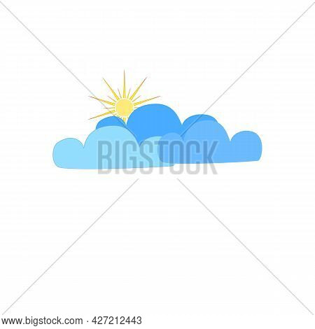Shower Sign. Weather Icon. Sun Behind Cloud On White Background. Isolated Icon Bad Weather. Design E