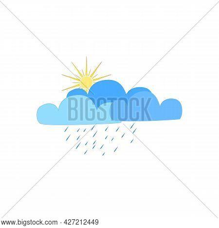 Shower Sign. Weather Icon. Meteorology Symbol Thunder Stormy. Isolated Icon Bad Weather. Design Elem