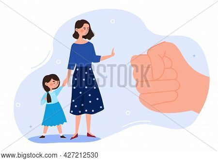 Domestic Violence Concept. The Mother Protects The Child From Being Hit By A Fist. Physical Abuse By