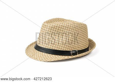 Beautiful Men's Classic Hat Isolated On A White Background. Classic Men's Headdress.