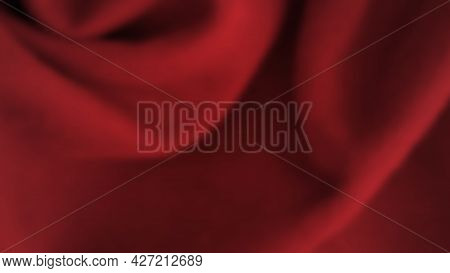 Abstract Background With Crumpled Cloth. Dark Red Realistic Silk Texture With Empty Space. Vector Il