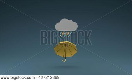 Umbrella Levitate In The Air With Thunderstorm Icon Rainy Season Conceptual 3d Rendering Illustratio