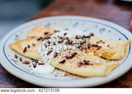 Pancake With Cottage Cheese, Topped With Cream