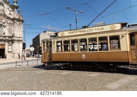 Porto, Portugal - March 17, 2017: Porto Tram City Tour In A Sunny Day.