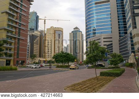 Dubai - Uae - November 27, 2020: View Of Barsha Heights District With Buildings, Hotels And Road. Li