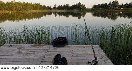 Fishing On A Beautiful Lake. Relax. A Beautiful Natural Lake. Lake In The Forest. Fishing On A Fores