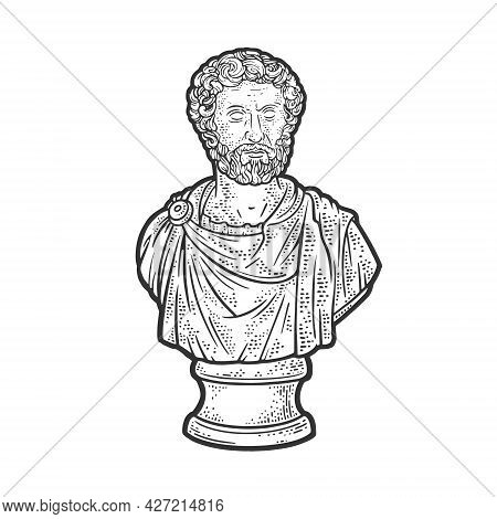 Marcus Aurelius Stoic Philosopher And Roman Emperor Marble Bust Line Art Sketch Engraving Vector Ill